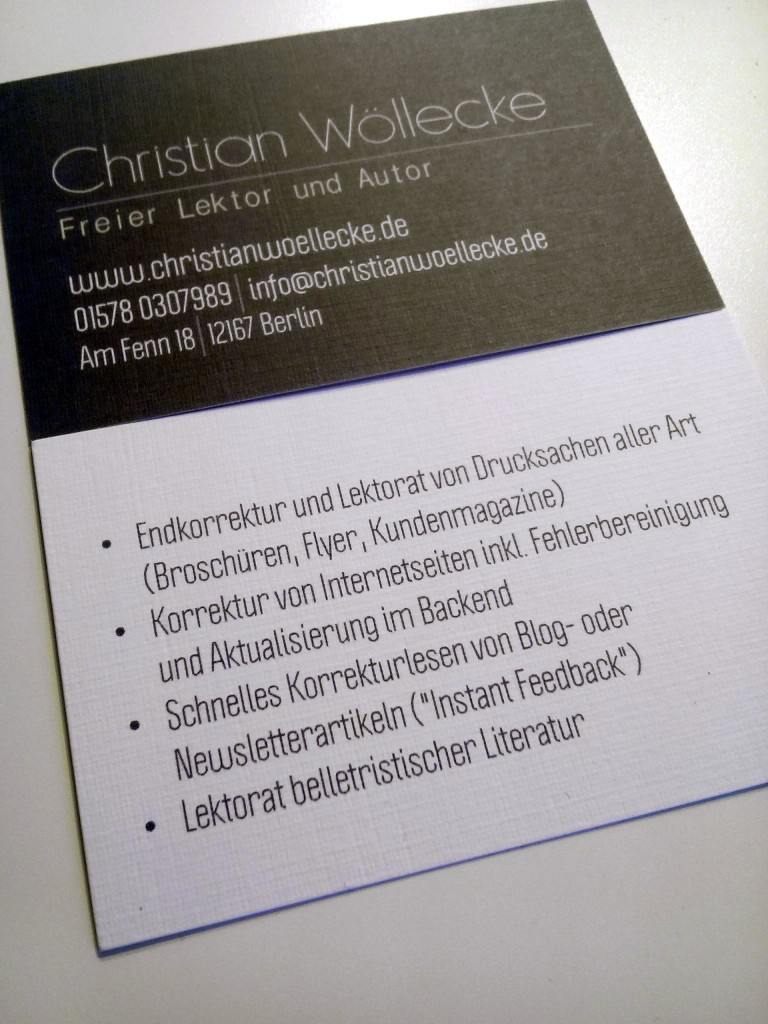 Das Bild zeigt Christian Wölleckes Visitenkarte