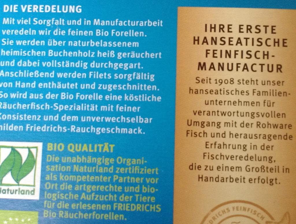 Noch mehr Bindestrichuneinheitlichkeiten auf einer Fischverpackung.